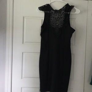 NWOT LuLu black lace form fitting dress size L